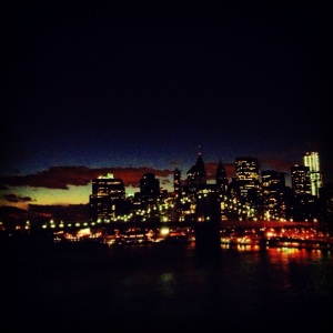 View from the Manhattan Bridge at dusk